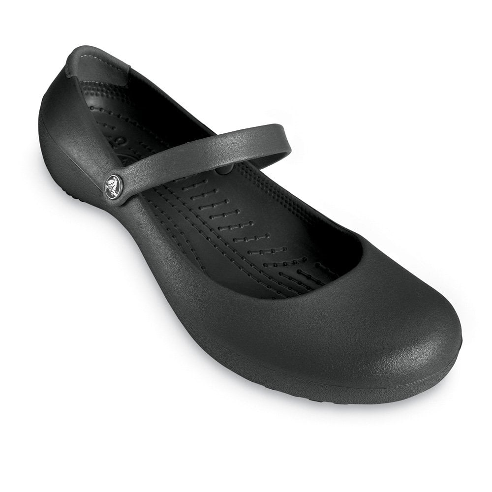 crocs work shoe black non slip flat work