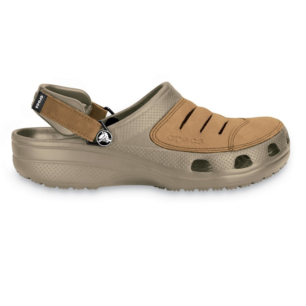 Crocs Yukon Shoe Khaki A Leather Topped Croslite Clog - Crocs From Jelly Egg UK