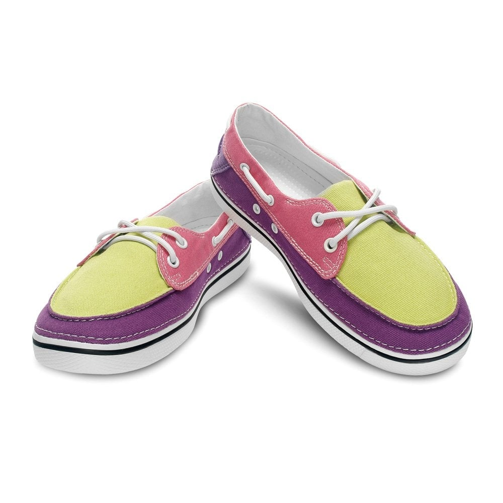 crocs hover boat shoe womens citrus pink canvas lace