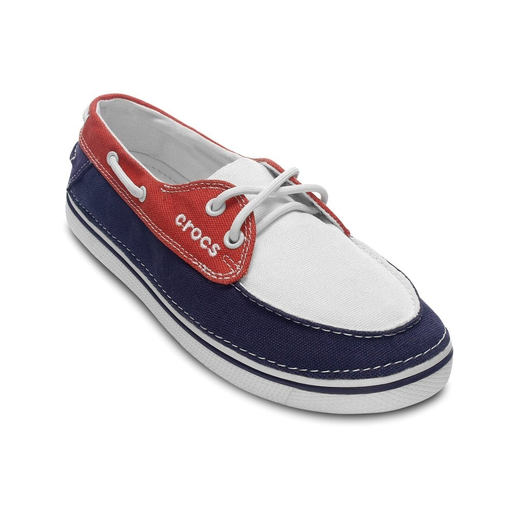 crocs hover boat shoe womens oyster scarlet canvas lace