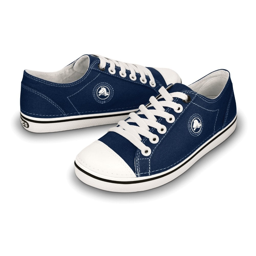 crocs womens hover lace up navy white light weight canvas