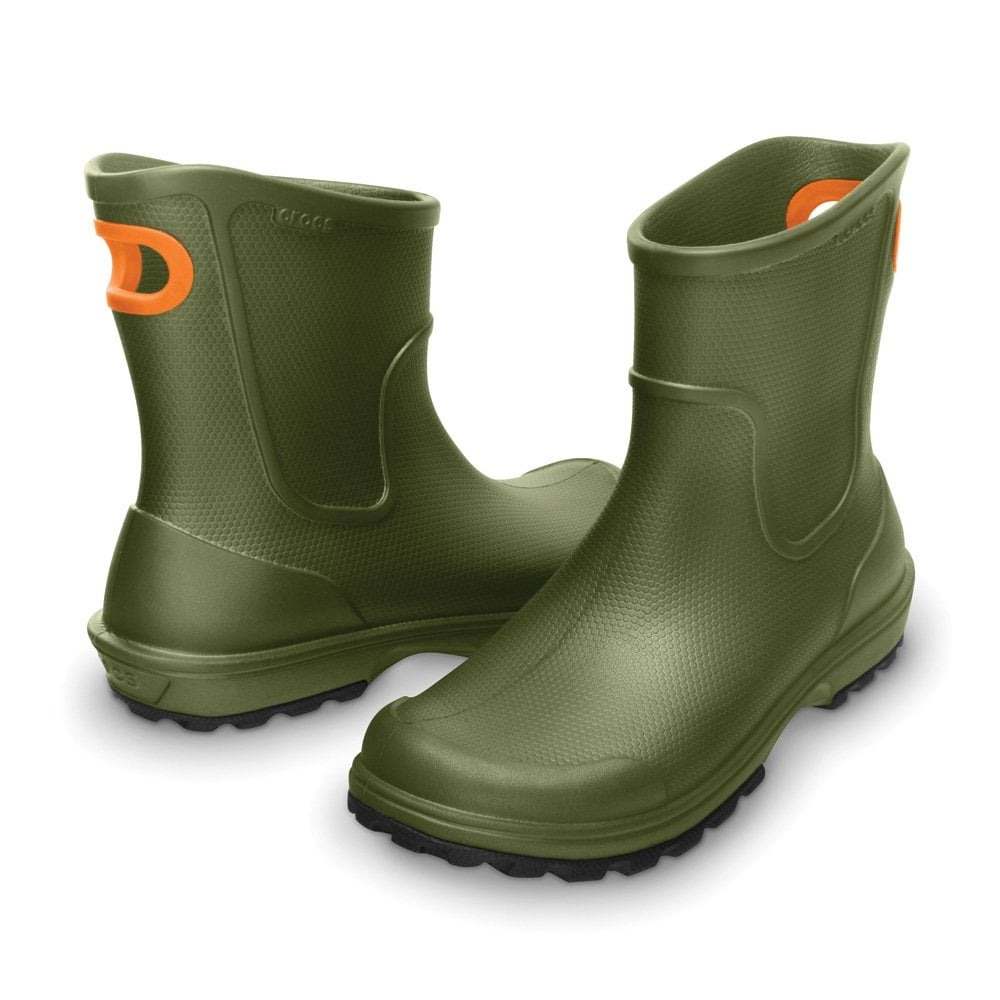 crocs mens wellie boot army green mid height