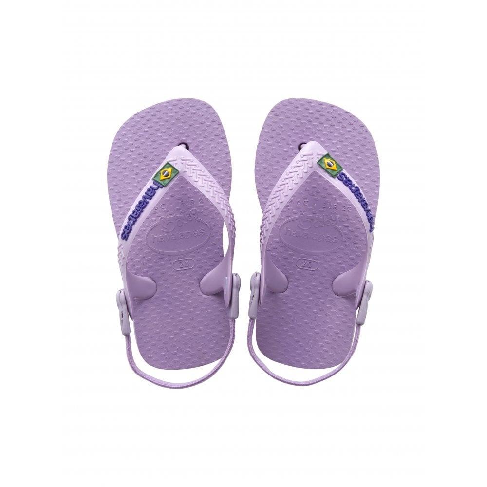 havaianas baby brasil logo soft lilac the original flip flop with elastic back strap. Black Bedroom Furniture Sets. Home Design Ideas