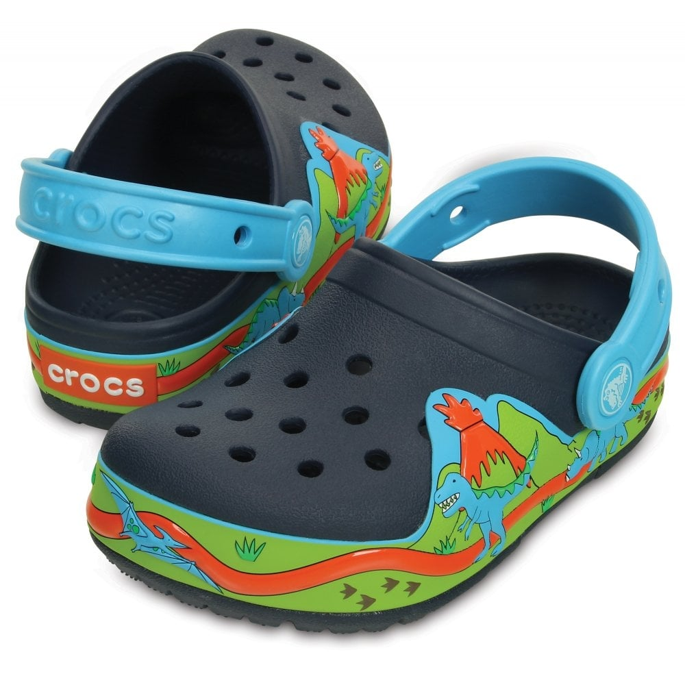 Crocs Kids Lights Dinosaur Clog Navy Volt Green The