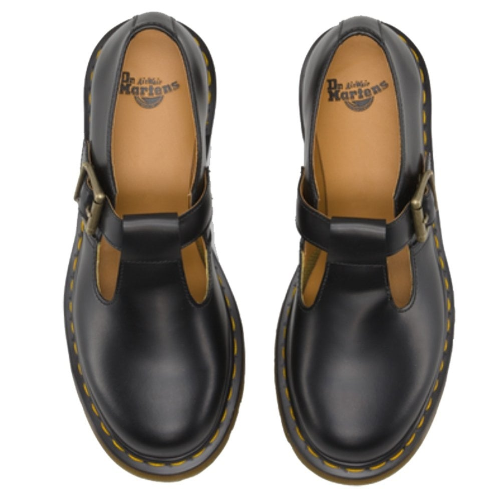 dr martens dr martens adult polley shoe black yellow stitch single buckle shoe dr martens. Black Bedroom Furniture Sets. Home Design Ideas