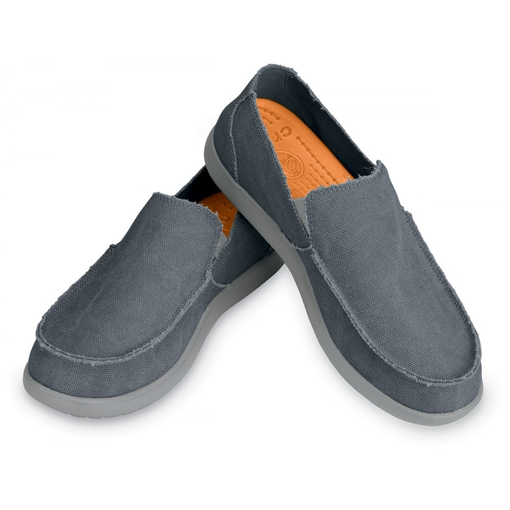 Crocs Santa Cruz Light Grey Charcoal Canvas Slip On Shoe