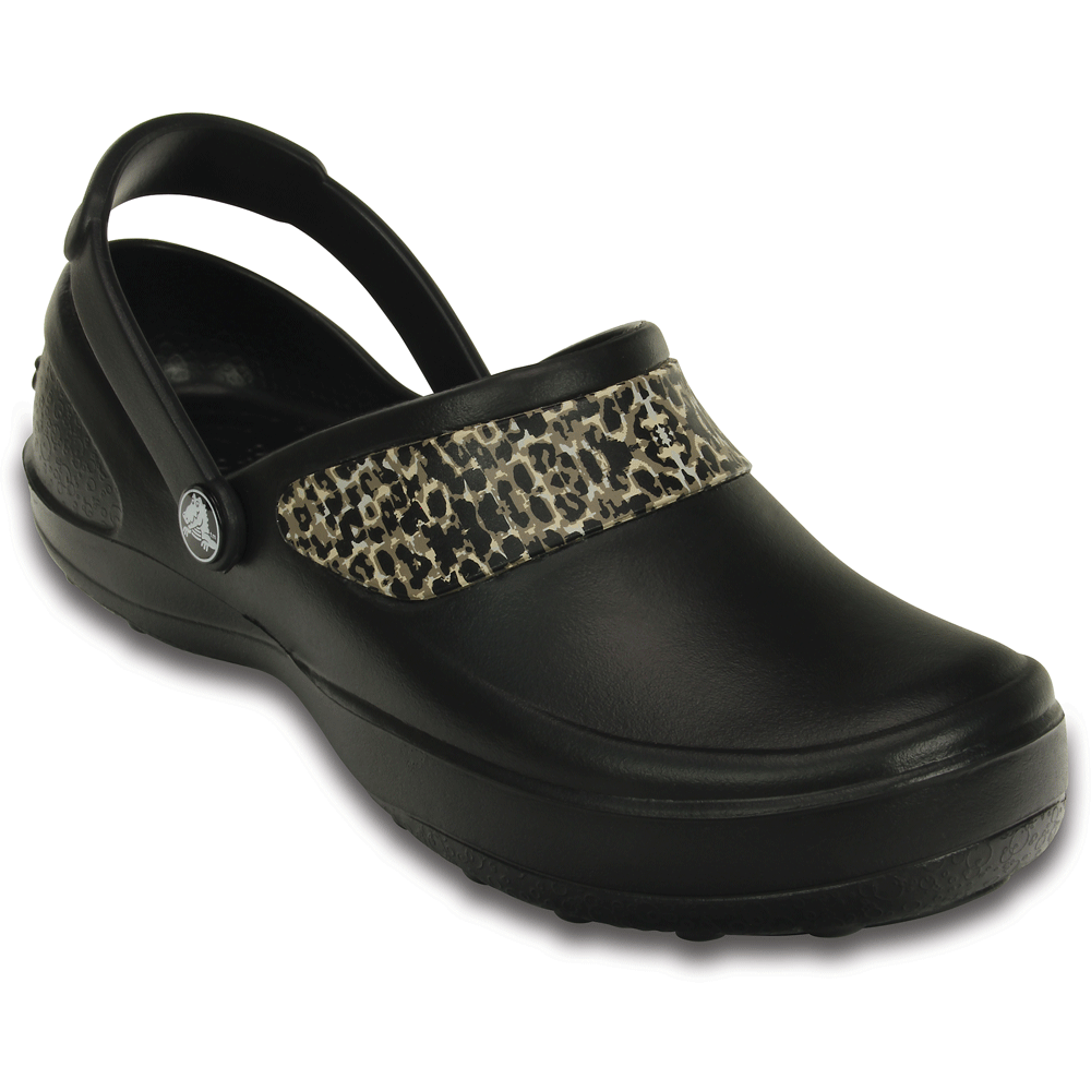 crocs mercy work black gold fully molded croslite clog