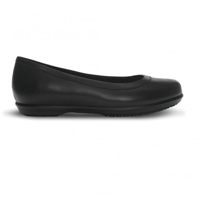 Crocs Grace Flat Black, Leather slip on shoe, ideal for school or work