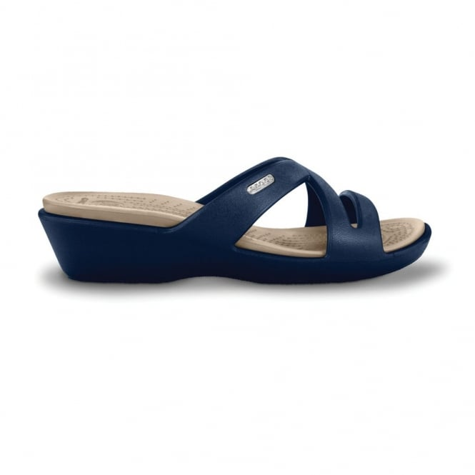 Crocs Patricia II Navy/Stucco, Mini wedge sandal made entirely from Croslite