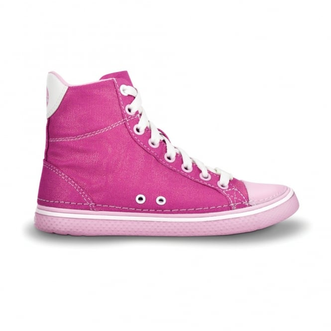 Crocs Kids Hover Sneak Hi Top Fuchsia/Bubblegum, Retro styled classic sneaker with canvas upper