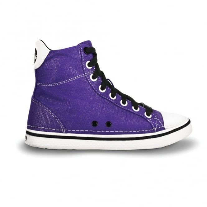 Crocs Kids Hover Sneak Hi Top Ultraviolet/Black, Retro styled classic sneaker with canvas upper