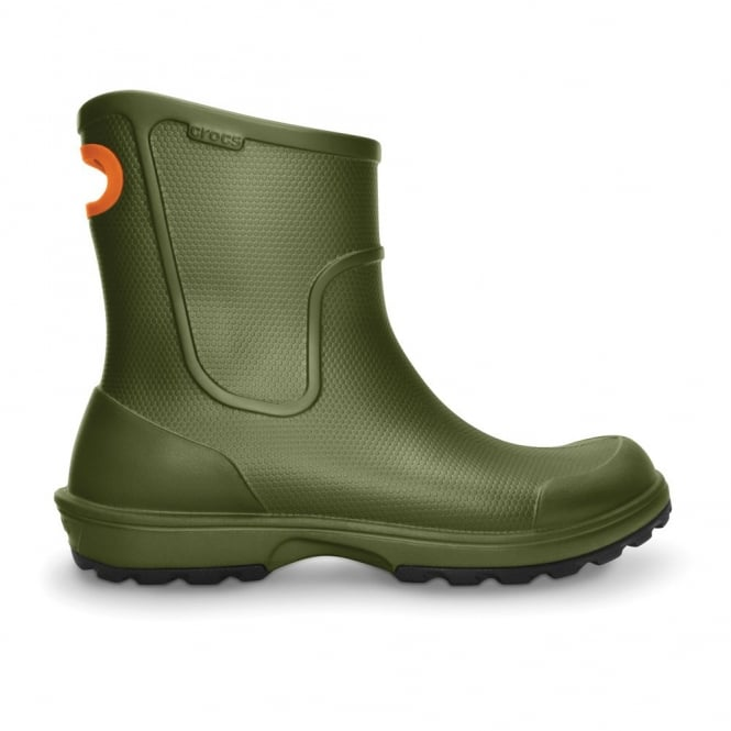 Crocs Mens Wellie Rain Boot Army Green, Mid height Croslite boot with pull on handle