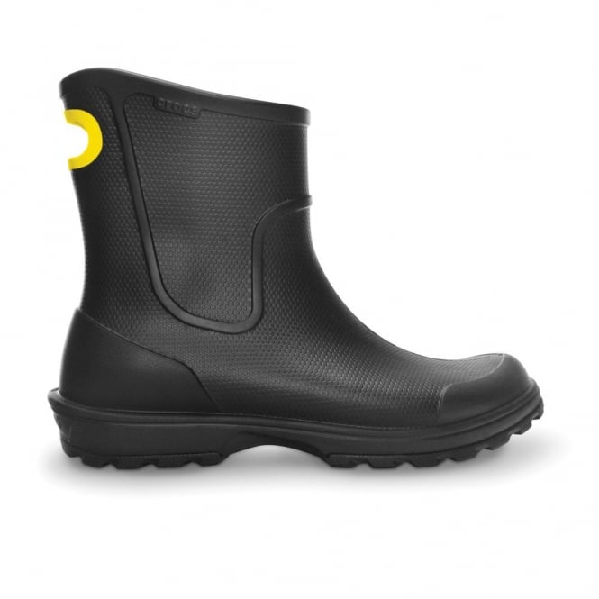 Crocs Mens Wellie Rain Boot Black, Mid height Croslite boot with pull on handle