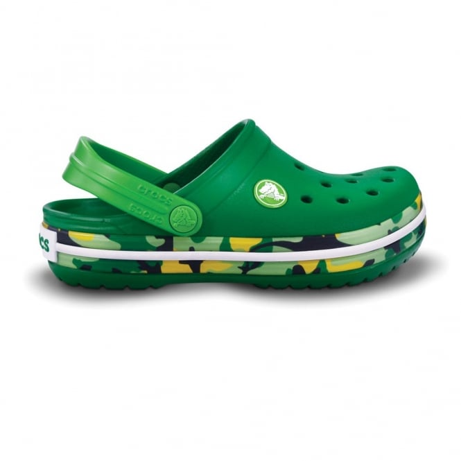 Crocs Kids Crocband Shoe CAMO Kelly Green, All the comfort of a Classic but with a Retro look