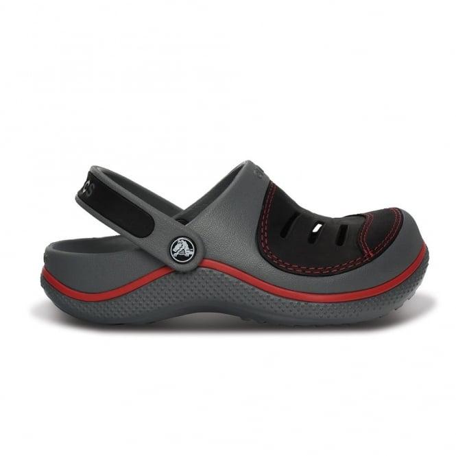 Crocs Kids Yukon Clog Charcoal/Black, Leather topped slip on shoes