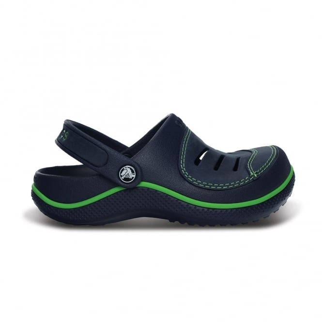 Crocs Kids Yukon Clog Navy/Navy, Leather topped slip on shoes