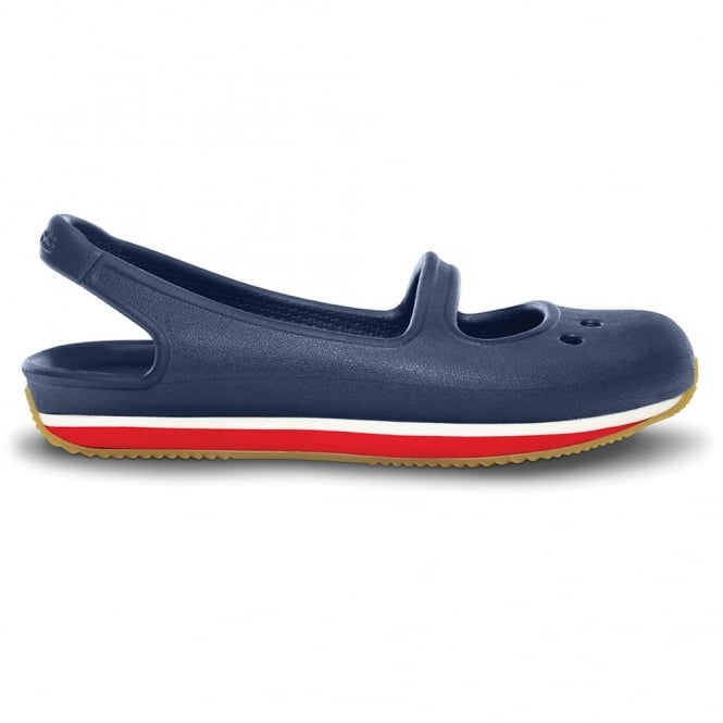 Crocs Girl's Retro Mary Jane Navy/Red, sling back pump style shoe