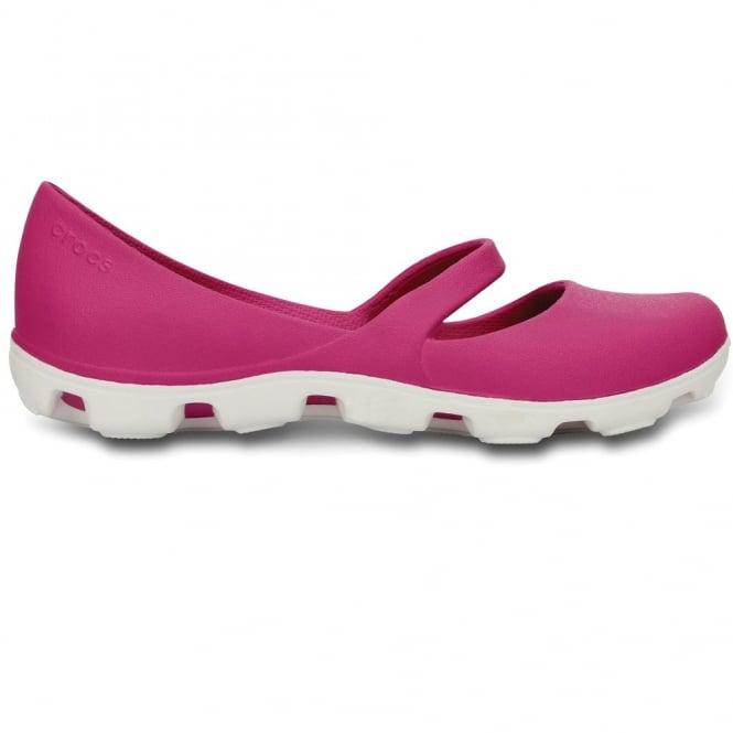 Crocs Ladies Duet Sport Mary Jane Fuchsia/White, Dual Density Comfort