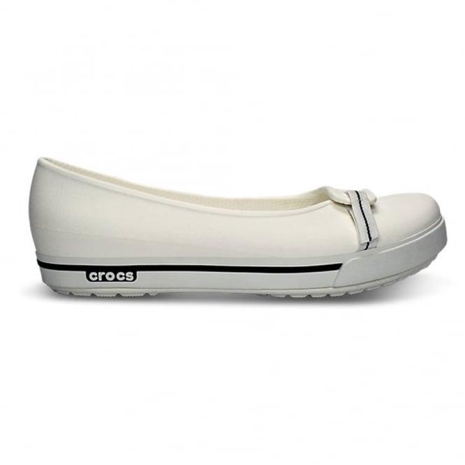 Crocs Womens Crocband II.5 Flat White/Navy, Crocs comfort in a stylish ballet pump