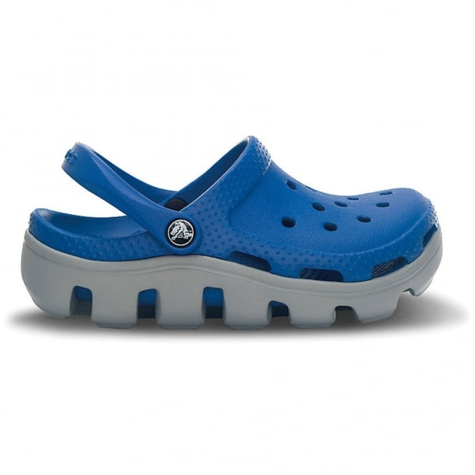 Crocs Kids Duet Sport Clog Sea Blue/Light Grey, slip on shoes with durable off road sole