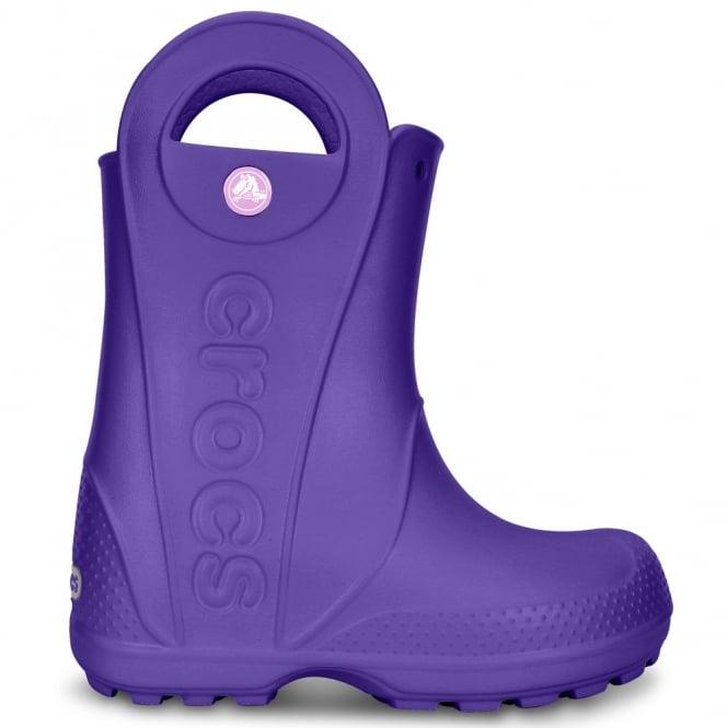 Crocs Kids Handle it Rain Boot Ultraviolet, Easy on wellington