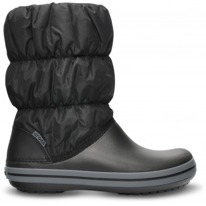 Crocs Womens Winter Puff Boot Black/Charcoal, puffed boots for warmth