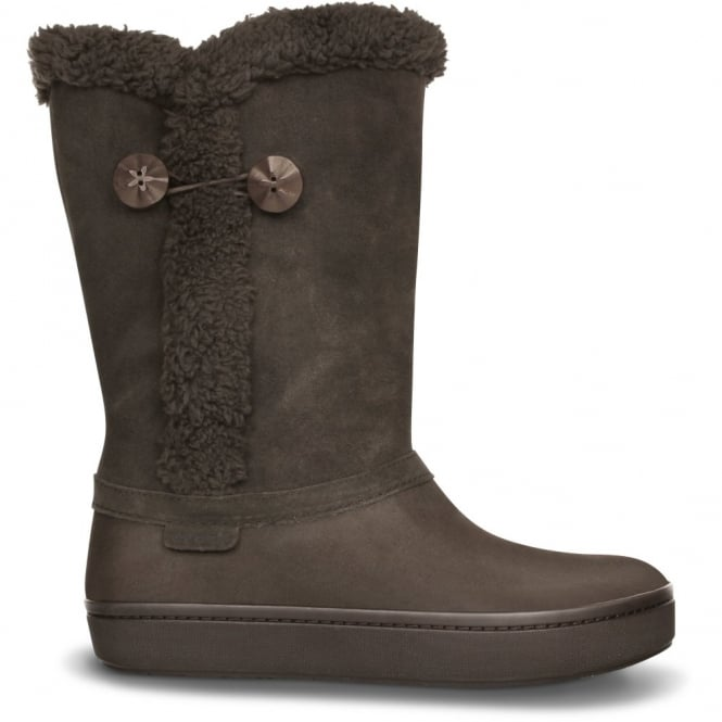 Crocs Modessa Suede Button Boot Espresso/Espresso, Buffed, casual, relaxed style with a more modern, streamlined fit