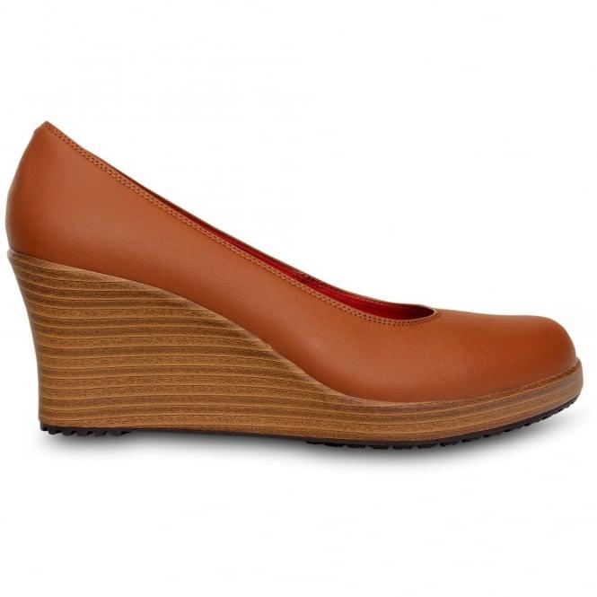 Crocs A-Leigh Closed Toe Wedge Cinnamon/Walnut, Genuine leather upper