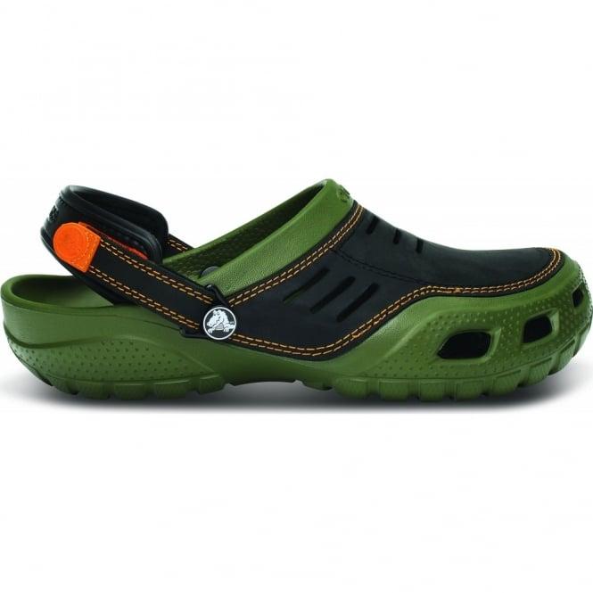 Crocs Yukon Sport Army Green/Black, Men's Leather Topped Slip on Shoe