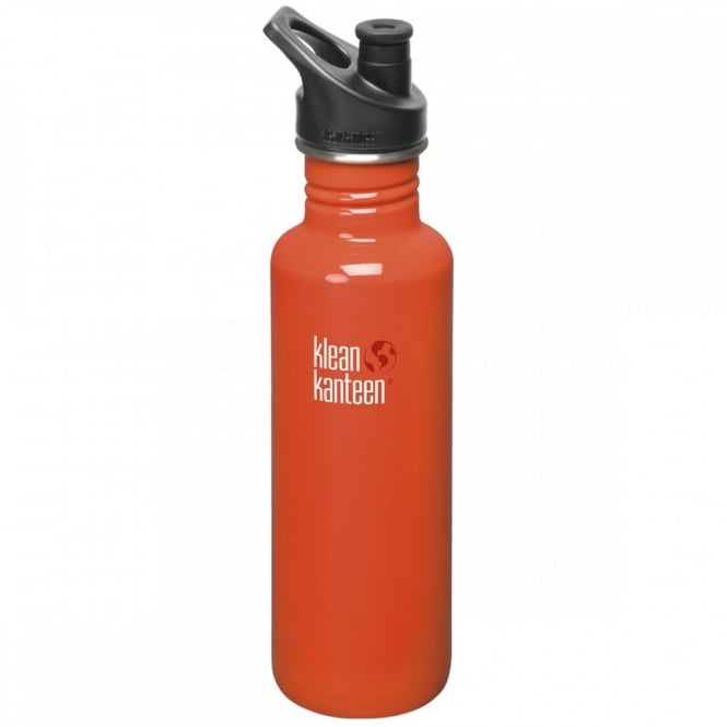 Klean Kanteen Classic 800ml Sports Cap Flame Orange, Stainless Steel Water Bottle great for on the move