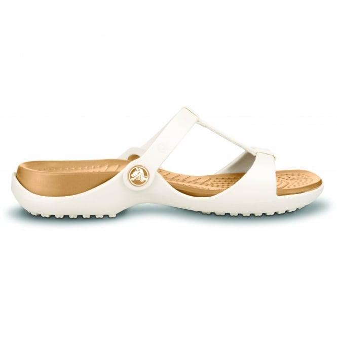 Crocs Cleo III Oyster/Gold, Croslite t-strap slide, perfect summer sandal