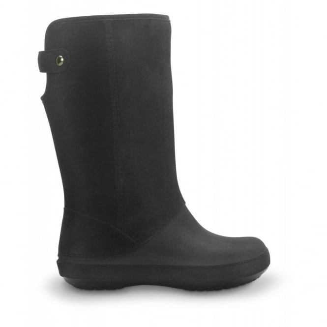 Crocs Berryessa Tall Suede Boot Black/Black, Buffed, soft-touch Croslite with suede shaft