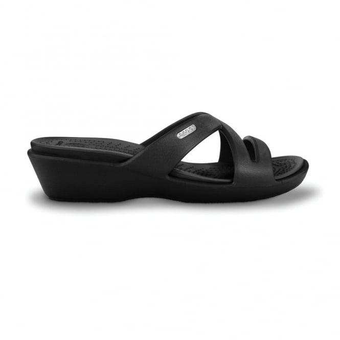 Crocs Patricia II Black/Black, Mini wedge sandal made entirely from Croslite