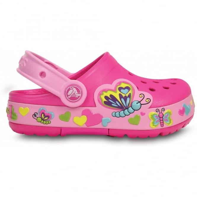 Crocs Kids CrocsLights Butterfly Clog Neon Magenta/Carnation, the comfort of the Classic Crocs but with fun LED light up design