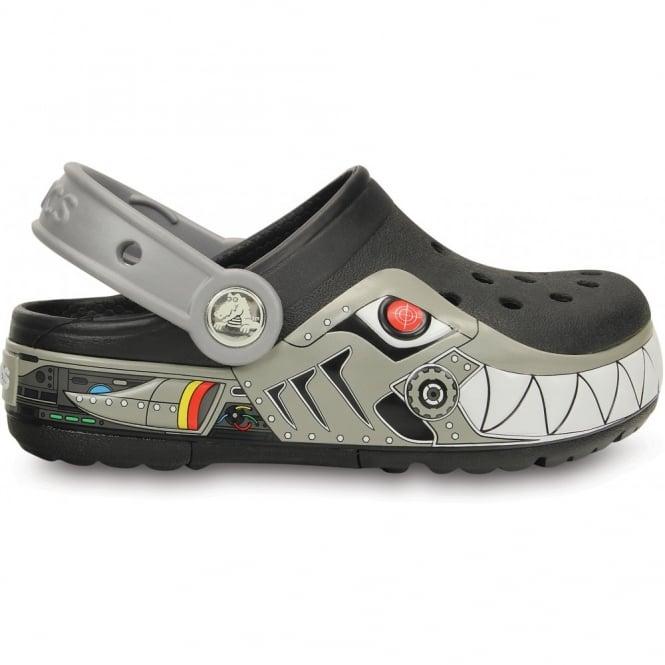 Crocs Kids CrocsLights Robo Shark Clog Black/Silver, the comfort of the Classic Crocs but with fun LED light up design