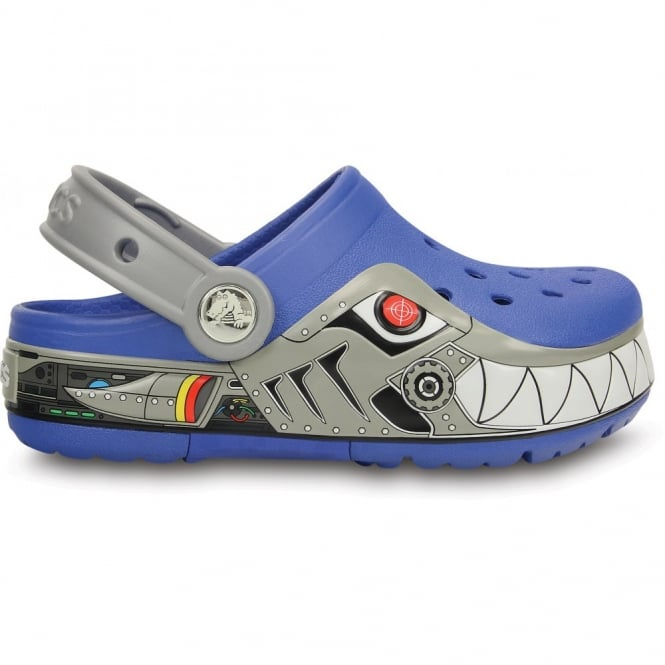 Crocs Kids CrocsLights Robo Shark Clog Sea Blue/Silver, the comfort of the Classic Crocs but with fun LED light up design