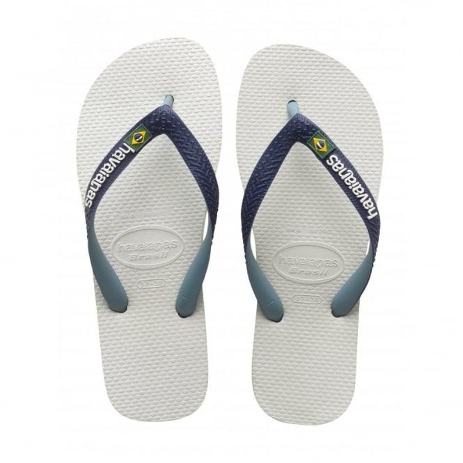 Havaianas Brasil Logo Mix White/Navy Blue, the original flip flop