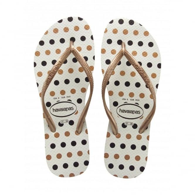 Havaianas Slim Fresh White/Rose Gold, Slim ladies fit with fun polka dot