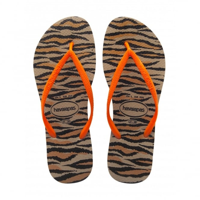 Havaianas Slim Animals Fluo Rose Gold, Womens fit with fun animal print