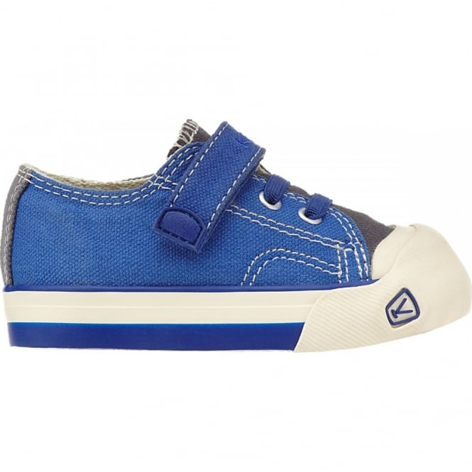 KEEN Kids Coronado Olympian Blue/Gargoyle, a classic canvas sneaker updated style lace up with metatomical footbed