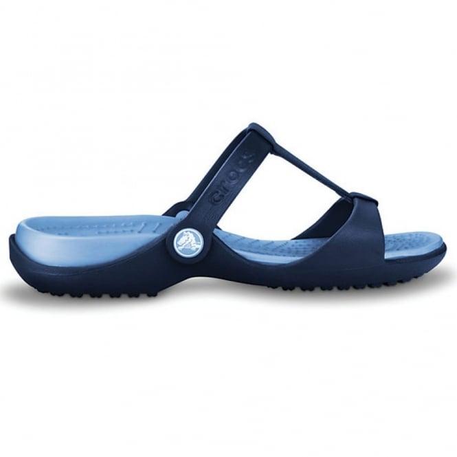 Crocs Cleo III Navy/Light Blue, Croslite t-strap slide, perfect summer sandal