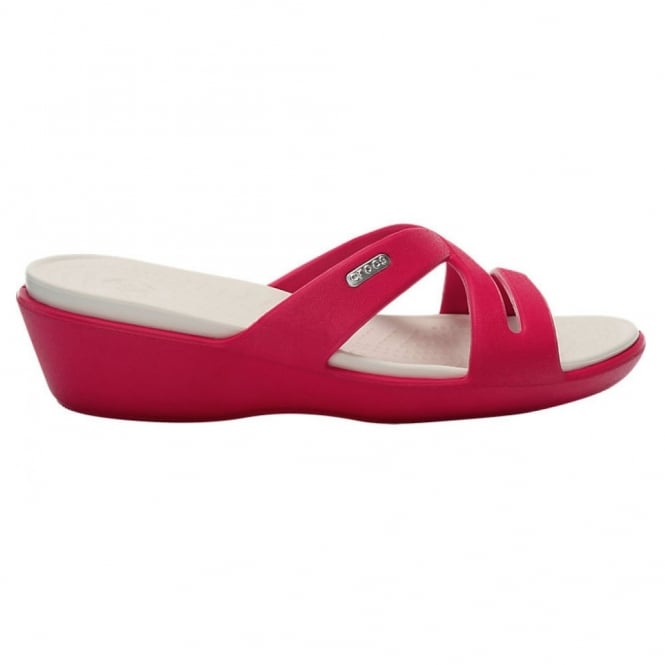Crocs Patricia II Raspberry/Oyster, Mini wedge sandal made entirely from Croslite