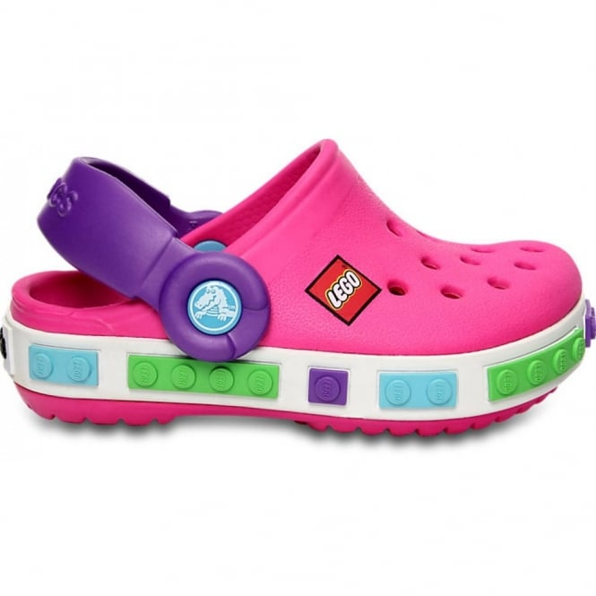 Crocs Kids Crocband Lego Shoe Neon Magenta/Purple, All the comfort of a Crocband but with LEGO!