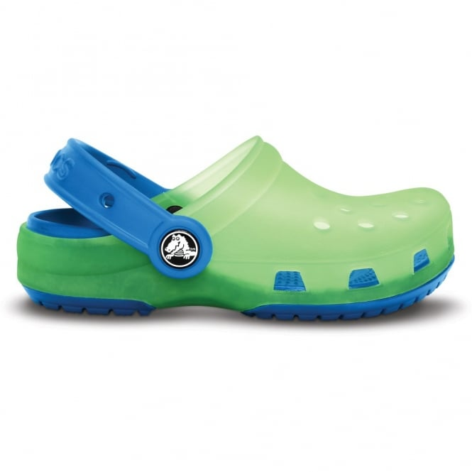 Crocs Kids Chameleons Translucent Clog Lime/Sea Blue, Innovative colour-changing technology with comfort