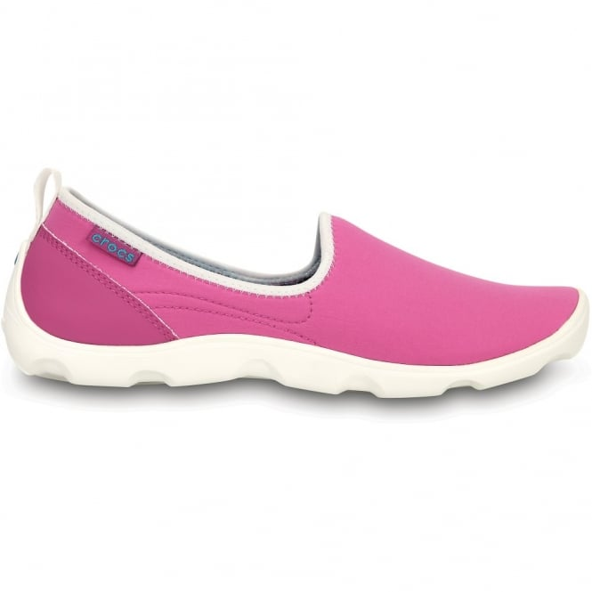 Crocs Womens Duet Busy Day Skimmer Vibrant Violet/White, Comfort footbed with soft stretchy shell uppers