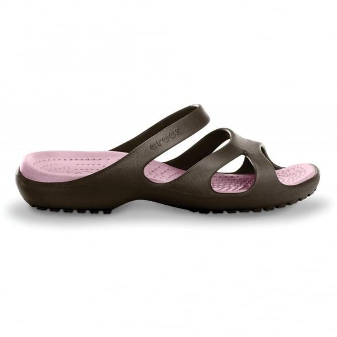 Crocs Meleen Espresso/Petal Pink, Croslite slide, perfect summer sandal with mini wedge heel