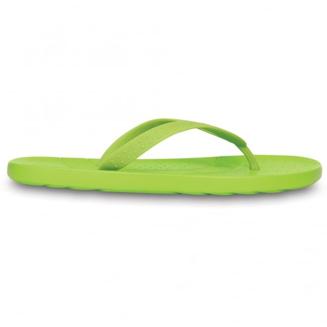 Crocs Kids Chawaii Flip Volt Green, Croslite footbed with soft TPU toe post ideal for beach
