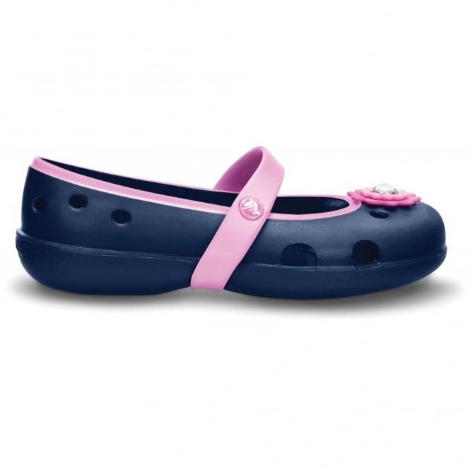 Crocs Girls Keeley Petal Flat Navy/Carnation, Slip on ballet flat style shoe