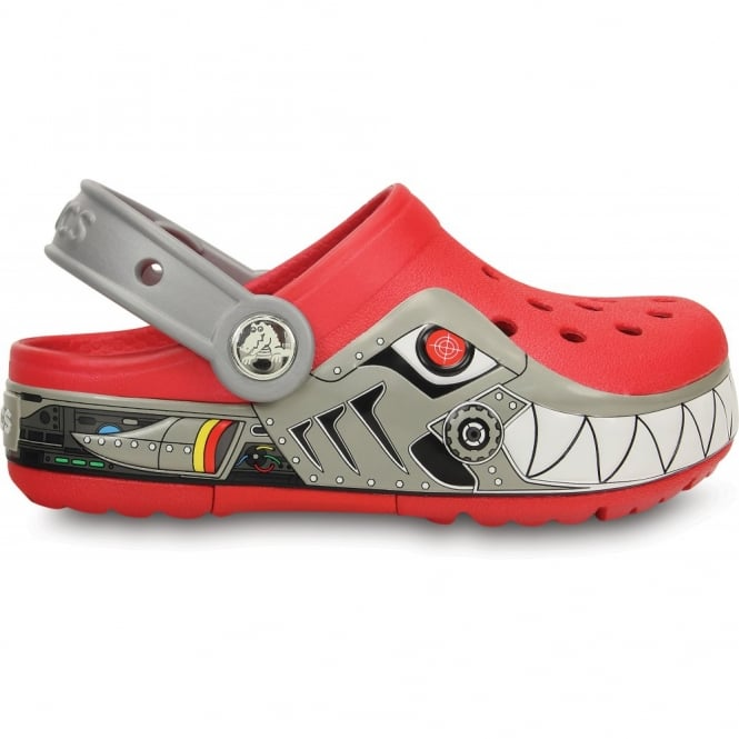 Crocs Kids Lights Robo Shark Clog Red/Silver, the comfort of the Classic but with fun LED light up design