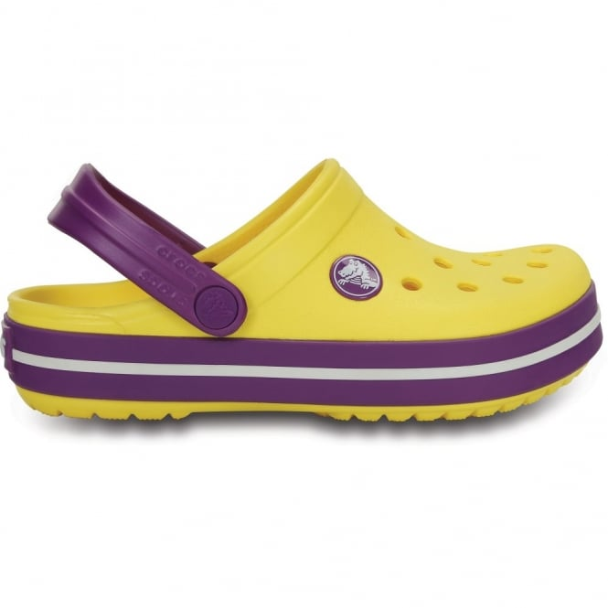 Crocs Kids Crocband Shoe Sunshine/Amethyst, All the comfort of a Classic but with a Retro look
